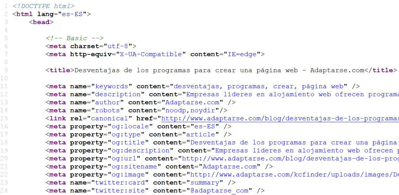 Desventajas de los programas para crear una página web